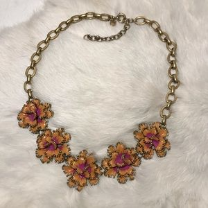 J Crew Floral Cloisonné Statement Necklace Golden
